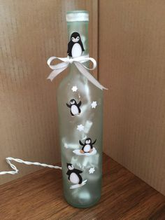 Frosted penguin wine bottle lamp by WineandVineGlow on Etsy