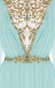 Illusion Chiffon Caftan by Marchesa for Preorder on Moda Operandi