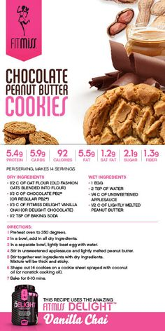 Chocolate Peanut Butter Cookies featuring Chocolate Delight!  #FitMiss #Recipe Purchase Delight HERE: http://www.fitmiss.com/store