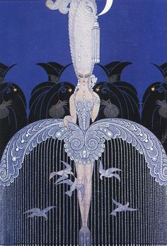 'Her Secret Admirers' by Erté (Russian-born artist Romain de Tirtoff - the world-famous Erté).