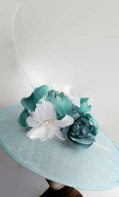 blue and white sunhat blue lampshade hat white and blue by Tocchic