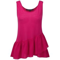 Women's French Connection Peplum Vest Top ($21) ❤ liked on Polyvore featuring tops, shirts, tank tops, peplum shirt, sleeveless tops, no sleeve shirt, drapey tank and pink peplum shirt