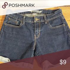 "Denim shorts Rolled hem, dark blue denim. Worn once, 4"" inseam Old Navy Shorts Jean Shorts"