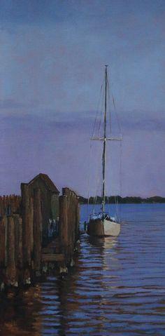 "Lori White ~ ""St. Michaels Sailboat"" ~ Oil  24 x 12"