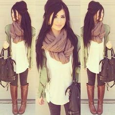 scarf fall autum fashion  outfits green brown boots purse  http://simplybeauteous.blogspot.sk/2014/09/jesenne-outfity-fall-outfits.html