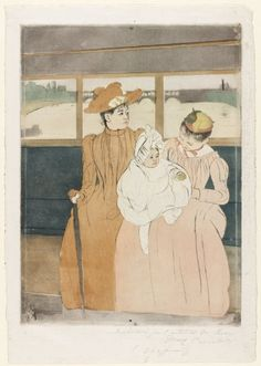 'Interior of a Tramway Passing a Bridge' by American Impressionist artist Mary Cassatt Drypoint. via It's About Time Cleveland Museum Of Art, Art Institute Of Chicago, Edgar Degas, Renoir, Monet, Mary Cassatt Art, Berthe Morisot, 3d Figures, National Gallery Of Art