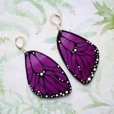 Violet Butterfly Wings Earrings by TheCreatorsCreations on Etsy, $38.00