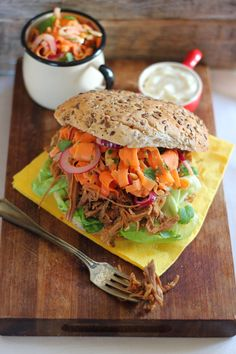Organic Pulled Pork Burgers with a Nutty Carrot & Red Onion Salad