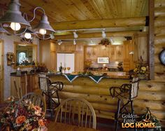Log Cabin Homes from Golden Eagle Log and Timber Homes: Photo Gallery Timber Frame Homes, Timber House, Log Home Living, Rustic Kitchen, Kitchen Ideas, Ranch Decor, Log Cabin Homes, Small Furniture, Home Pictures