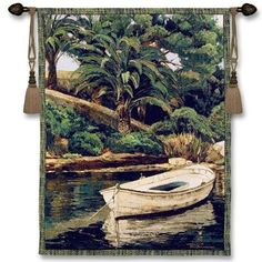 $169.99 Barca Y Palmeras Tropical Wall Tapestry featuring a woven rendition of Poch Romeau's row boat on the river in the tropical jungle will be a welcomed addition to you safari or tropical decor. Tropical Tapestry Wall Hanging Art at http://www.delectably-yours.com/Tropical-Palm-Decor-C27.aspx