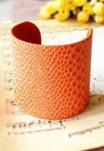 Orange Snakeskin Cuff Bracelet #SheInside