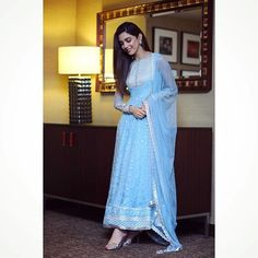 Excited to share this item from my shop: VeroniQ Trends-Designer Anarkali Suit in Sky Blue in Georgette with Sequins and Embroidery work,Salwar Suit,Punjabi Suit,Wedding,Indian-VF Pakistani Dress Design, Pakistani Dresses, Indian Dresses, Indian Outfits, Pakistani Suits, Punjabi Suits, Anarkali Dress, Anarkali Suits, Churidar Suits
