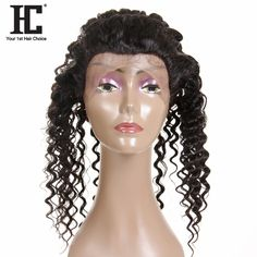 HC Hair Products 360 Lace Frontal Closure With Baby Hair Deep Wave Remy Human Hair 10-20inch Free Part Swiss Lace