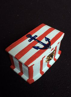 Hand painted anchor jewelry box by ErinsElegantElephant on Etsy