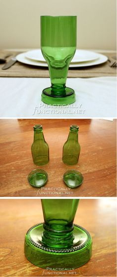 Make cool DIY projects with beer bottles. Get into upcycling and make awesome beer bottle crafts for your home. Try making beer bottle glasses and much Beer Bottle Crafts, Beer Crafts, Wine Bottle Art, Diy Bottle, Craft Beer, Bottle Candles, Glass Bottles, Beer Bottles, Cut Bottles