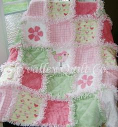 Baby Girl Rag Quilt Green Yellow and Pink Baby Birds | eBay