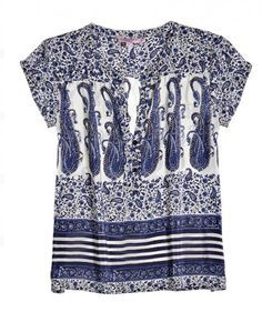 Belfia Paisley Printed Silk Blouse-this will be a great staple for spring/summer