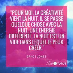 """""""Pour moi, la créativité vient la nuit. Il se passe quelque chose avec la nuit. Une énergie différente. La nuit est un vide dans lequel je peux créer."""" - Grace Jones #créativité #inspiration #citation #citations #citationdujour #france #quote #followme #quoteoftheday"""