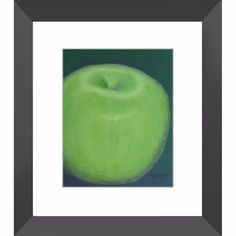 Granny Smith Apple - Framed Print of Food Acrylic Paint Monochrome Fine Art
