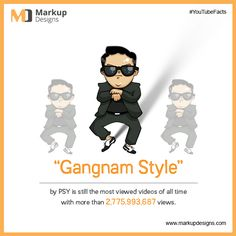 """""""#GangnamStyle"""" by #PSY is still the most viewed #video of all time with more than 2,775,993,687 views on #YouTube.  #MarkupDesigns #InternetFacts"""