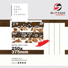 Floral & Fashion Art  Satyam Ceramic Digital Wall Tiles:- 250x375 MM  #satyamceramic #Satyamtiles #digitalwalltiles #walltiles #tiles #ceramic #kitchen #bathroom #bedroom #livingroom #10x15 #250x375 #ceramicindia #tilesmanufacturers #Morbi #gujarat #india Floral Fashion, Fashion Art, Digital Wall, Wall Tiles, India, Ceramics, Bathroom, Kitchen, Home Decor