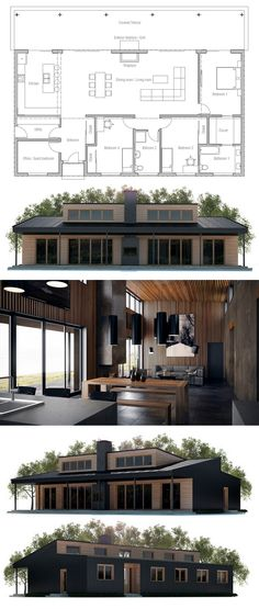 Open floor plan, focused on natural lighting, lots of windows, not extravagant, without unnecessary rooms like a formal dinging room, designed to take in a view, solar power and passive solar friendly.