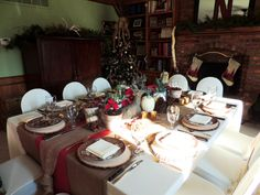 """Alycia Nichols, Tablescapes at Table Twenty-One, www.tabletwentyone.wordpress.com, """"Over the River & Through the Woods – Transitional Tablescape for Thanksgiving when you've already decorated for Christmas: Full table"""