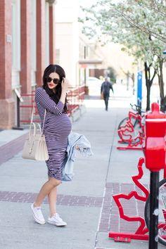 Stripe Knit Stretch Maternity Dress...