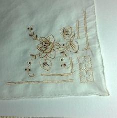 Found in Brittany. Vintage Embroidered Wedding Bridal Ladies Handkerchief French  / Breton linen. by ThePemburyEmporium on Etsy