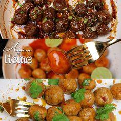 Asian Meatballs 3 Ways! Spicy Mongolian beef meatballs, Honey sriracha chicken meatballs & caramelized pork meatballs!