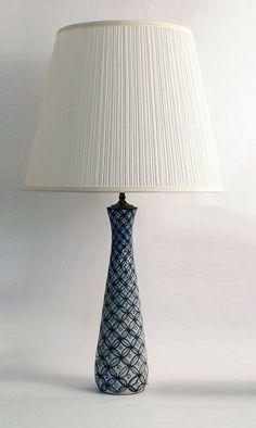 Earthenware lamp base with painted underglaze decoration-Gambone-Italy