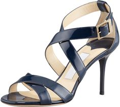 $695, Navy Leather Heeled Sandals: Jimmy Choo Louise Crisscross Patent Leather Sandal Navy. Sold by Neiman Marcus.