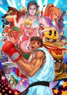 Ryu in Super Smash Bros Illustration by Capcom
