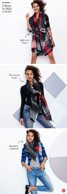 The blanket scarf is a must-have accessory this fall: it's a good staple for a casual day at work, weekend errands or even cocktails on a chilly night. But there's more than one way to style it! 1. Wear it unwrapped over your shoulders, and belt it at the waist. 2. Tie it in a loose front loop as a way to accessorize a simple look. 3. Fold it into a triangle and tie it in back for a western-inspired vibe.