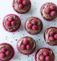 Bailey-cupcakes med chokolade og hindbær
