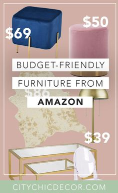 These glam, cheap furniture items from Amazon will blow you & your house guests away. From chic decor to stunning velvet chairs, you'll be shocked with how budget-friendly these things are! #furnituredesign #furnitureideas #affordablefurniture #affordablefurnitureideas #amazon #thingstobuyonamazon Affordable Furniture, Cheap Furniture, Renters Solutions, Dream Apartment, Apartment Goals, Gold Stool, Studio Apartment Decorating, Studio Living, Blush And Gold