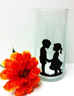 Glass Flower Vase Boy and Girl Silhouette Hand by DirtRoadCrafter, $14.99
