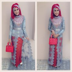 New Dress Brokat Hijab App Ideas Model Kebaya Modern Muslim, Modern Hijab, Kebaya Hijab, Kebaya Dress, Kebaya Brokat, Dressy Dresses, Nice Dresses, Long Dresses, Turban