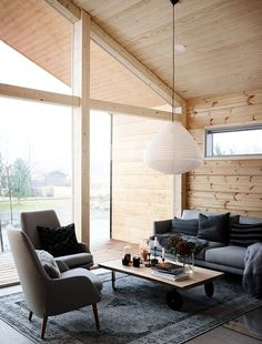 Modern Interior Design of a Log House Plays with Contrasts - Honka Modern Cabin Interior, Cabin Interior Design, Chalet Interior, Cabin Design, Design Design, Nordic Interior, Log Cabin Furniture, Rustic Wood Furniture, Western Furniture