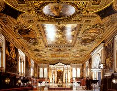 Page of View of the Sala Superiore by TINTORETTO in the Web Gallery of Art, a searchable image collection and database of European painting, sculpture and architecture Palaces, San Rocco, Ceiling Art, Italy Art, Web Gallery, Venice Biennale, European Paintings, Italy Fashion, Installation Art