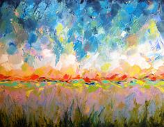 """Original abstract landscape oil painting on canvas panel 16""""x20"""" abstract contemporary modern art on Etsy, $290.00"""