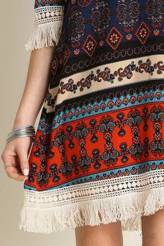 Tribal Print Dress, Tribal Prints, 3 4 Sleeve Dress, Boho Festival, Boho Dress, Hippie Boho, Dresses With Sleeves, Embroidery, Music