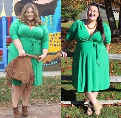 Bloggers Fat Girl Flow and Ready To Stare wearing the IGIGI Dominique Dress in Jade. Love their look? It's ON SALE for $88.99!