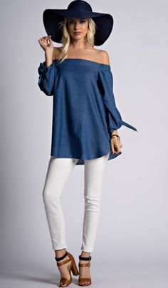 Denim Off the Shoulder Top with Tie Sleeves Cool Outfits, Casual Outfits, Blue Jeans, Trendy Fashion, Womens Fashion, Boho, Everyday Fashion, Dress To Impress, Casual Wear
