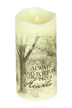 "Everlasting Glow With Premier Flicker ""Forever In Our Hearts"" Candle. The candle is lit by a bright LED light made of real vanilla scented wax and the flame actually flickers! This candle is mess free and contains a built-in automatic timer that runs 6 hrs. on and 18 hours off.  Height: 6"" Diameter: 3""  Memorial Candle by Carson. Home & Gifts - Home Decor - Candles & Scents Iowa"