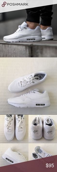 Men's Nike Air Max 1 Ultra Essential White Sneaker Men's Nike Air Max 1 Ultra Essential White Sneakers Style/Color: 819476-105 • Men's size 9 • NEW in box (no lid) • No trades •100% authentic Nike Shoes Sneakers