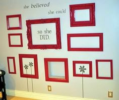 Empty frame wall art. Different ideas. One with butterflies, and this one has text and flowers