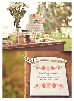 """Smitten on Paper """"Petite Jardin"""" invite suite. Orange and white floral stationery and event details"""