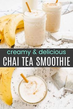 Creamy Chai Smoothie - the vanilla and spices of a Chai tea latte in a frosty banana smoothie recipe. An easy and healthy cool treat for hot days made with only four ingredients. You can even make it vegan! Vanilla Chai Smoothie Recipe, Chai Smoothie Recipes, Chai Tea Smoothie, Vanilla Chai Tea, Tea Smoothies, Healthy Smoothies, Delicious Vegan Recipes, Snack Recipes, Drink Recipes