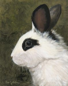 Black and White Rabbit Giclee Canvas Print from Original Painting by Cheri Wollenberg.Etsy.